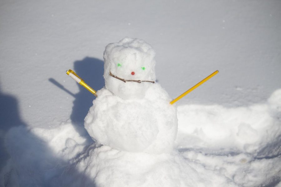 A+snowman+is+seen+that+was+made+by+a+student+Monday+afternoon+January+14%2C+2019.