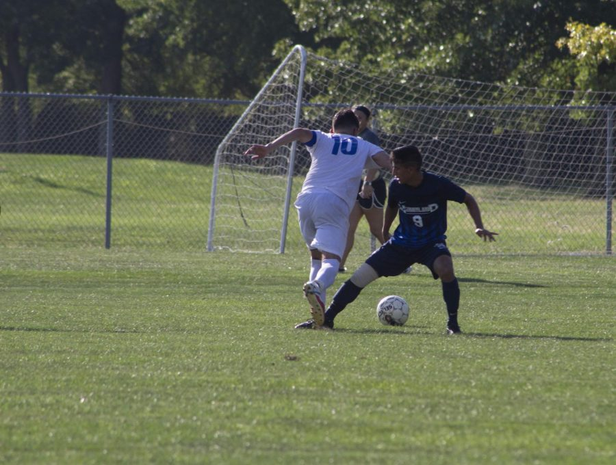 Dimitrije Antonijevic takes a shot on goal durring the second half of Loggers vs. Heartland Community College.