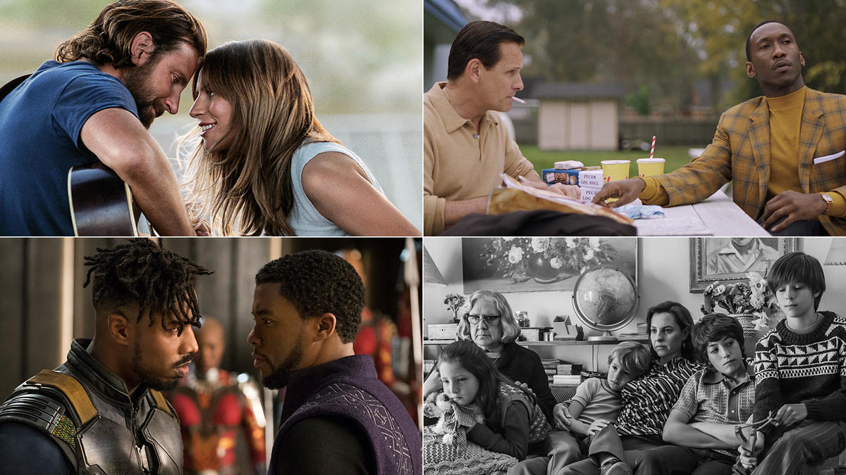 Shown here are some of the films nominatated this award season. From the right: A Star Is Born, Green Book, Black Panther and Roma.