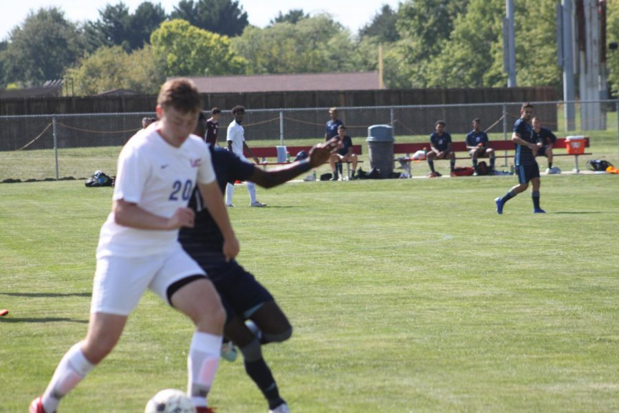 Cale Sherrock, goalie for the Loggers, makes a save against Iowa Central Community College on Sept. 6, 2019.