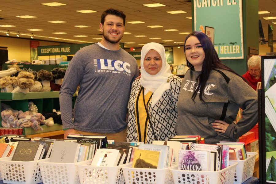 Students Robby McQuinn and Karissa Hurst posed with Professor of Education Taibeh Hosseinali.