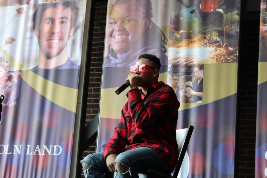 Gerald Cole, aka, Torch_Nation begins his act during the LLCC Black History Month Kickoff event.