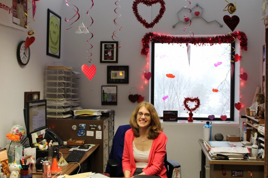 Jennifer Ramm, professor of chemistry, keeps her office updated with the seasons. This month it was decorated for Valentine's Day.