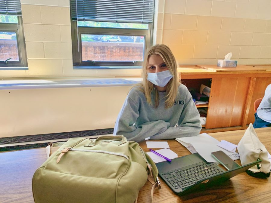 Sacred Heart-Griffin Senior Grace Seck works on her project in Mission Class.