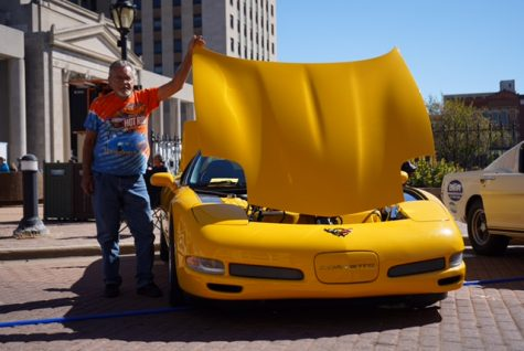 Lane Cummings with his 2002 Corvette at the Route 66 Mother Road Festival on Saturday, Sept. 24, 2021.