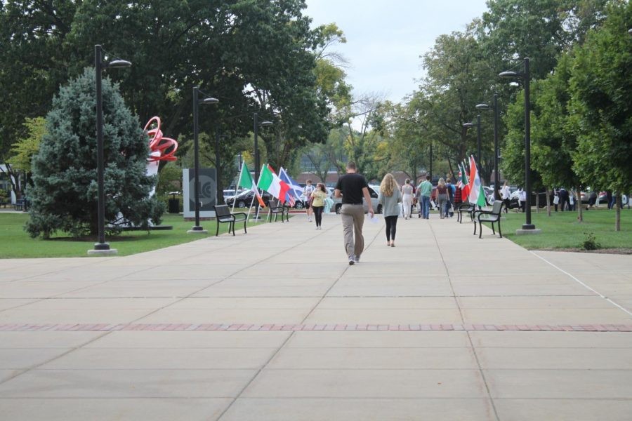 The+flags+line+the+walkway+to+Menard+Hall